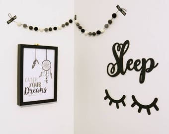Wooden Sleepy Eyes, Sleepy Eye Lashes, Monochrome, Scandi Nursery Decor, Wall Hangings, Flatlays and Photo Props