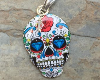 Sugar Skull Pendant on Sterling Silver Chain, Choose 16, 18 or 20 inch, Day of the Dead, Dia de los Muertos Necklace