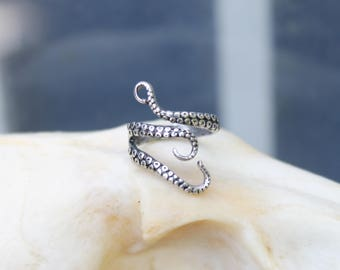 Silver Plated Adjustable Octopus Wrap Ring