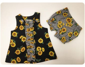 Baby Girl Sundress | Summer Dress | Black with Sunflowers | Gingham | Bloomers | Set | 0-3 Month