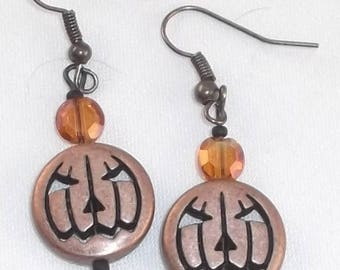 Halloween Pumpkin Earrings Beaded Bronzed Metal Crystal Pumpkin Jack-O-Lanterns