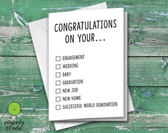 Congratulations On Your Blank Greeting Card - Engagement, Wedding, Baby, Graduation, New Job, New Home, Peabody Studio Card