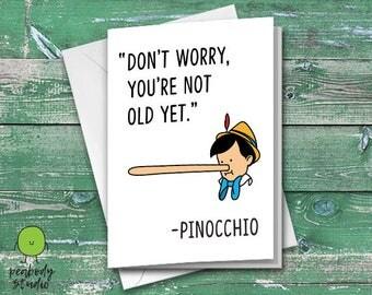 Pinocchio Old Birthday Funny Greeting Card - Birthday, Peabody Studio Card