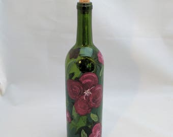 Painted wine bottle lighted