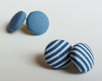 Fabric button earrings earrings buttons fabric - blue stripes striped blue - made in Quebec
