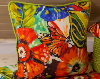Summer Cushion cover/pillow cover with flower patterns and piping, 40 x 40 cm, linen/cotton