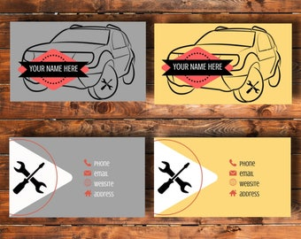 Printable business card, grey or yellow,  car repair services