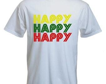 Happy happy happy Tshirt-happy Tshirt-hippie-indie-festival Tshirt-beachwear-slogan Tee-statement tshirt-mens short sleeved Tee-