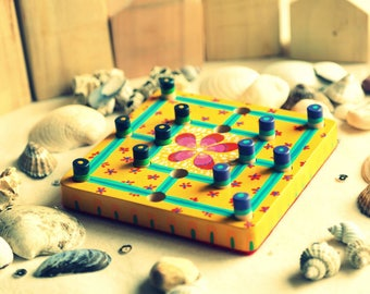 Wood Morris board game, hand painted