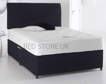 Black Suede Divan Bed with Mattress and Headboard