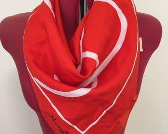 Vintage scarf - bold red & white print.
