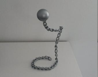 the wife, ball and chain, metal art, recycled art, salvaged art
