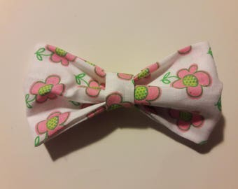 Large Pink Floral Hair Bow Tie Collar