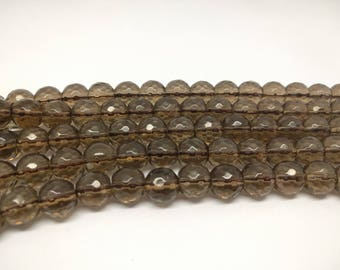 Faceted Smoky Quartz Beads 12mm Faceted Smoky Quartz Beads  Jewelry Beads  Mala Beads Healing Beads for Jewelry Making Beads Yoga Beads