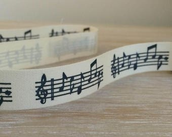 Musical note fabric ribbon, cotton ribbon 15mm width, priced per metre