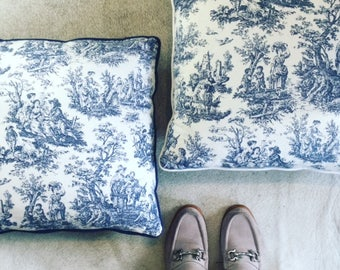 French Toile Fabric cushion 45 x 45 cm