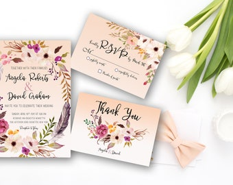 Wedding Invitation Suite Printable Floral Digital Wedding Bohemian Watercolor Flowers Peach or Green Invitation Wedding Invite WS-003