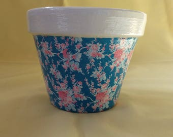 Hand painted and decoupage decorated terracotta plant pot