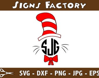 Cat In The Hat Monogram Svg, Dr. Seuss Svg, Svg Files, Cricut Files, Silhouette Files
