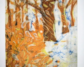 Beech wood -  High quality print from an original batik 40 cm x 30 cm