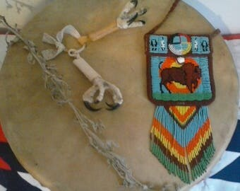 White Buffalo Calf Woman Beaded Leather Purse