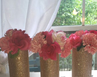6 vases, wedding centerpieces, centerpieces, gold vases, glitter vases, wedding center pieces for tables, wedding center pieces, flowers