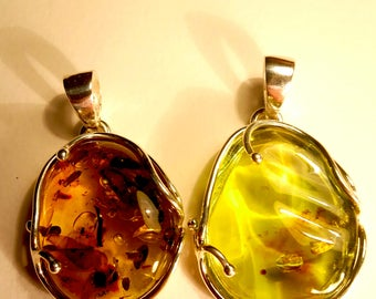 Natural Caribbean Green Amber Cabs Pendants with Sterling Silver 925 With and Without Inclusions