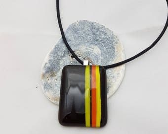 Black fused glass pendant with yellow and orange stripes | For her | Ideal present | Handmade jewellery