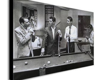 The Rat Pack Playing Pool Canvas Wall Art Print - Various Sizes