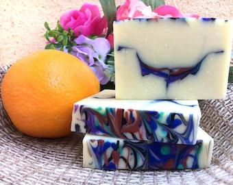 Creamy Orange Peel Coldprocess Soap, Handmade Soap, Bar soap,Natural Soap, Artisan Soap, Orange Soap, Women's Gift, Handcrafted Soap