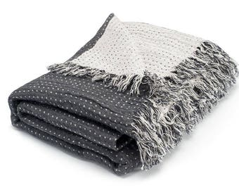 gray blanket grey throw blankets softened linen throw polka dot bedspread natural
