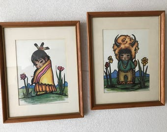 Set of 4 Gorgeous Vintage Gerda Christoffersen Native American Indian Children Art. Professionally framed and matted.