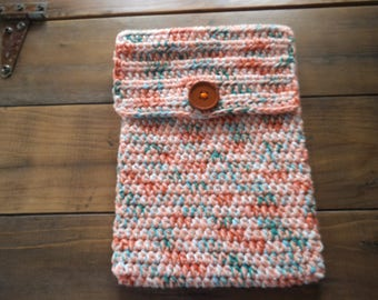 Handmade Crocheted Netbook Laptop Sleeve With Button Multicolored