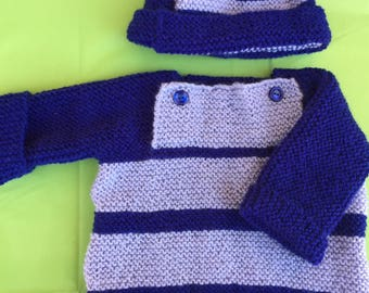 Childs knitted sweater and hat - boy 12 months