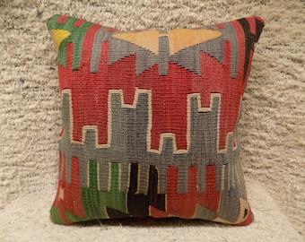 Decorative pillow,handmade cushion,turkish rug pillow,vintage pillow,throw pillow,kilim cushion cover,bohemian pillow,accent pillow,16x16