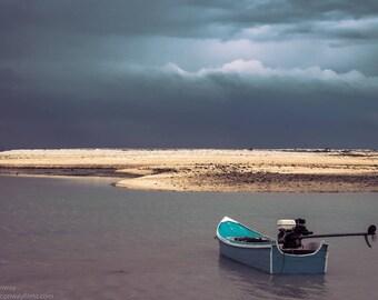 Empty drifting boat
