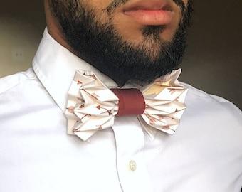 The Pioneer - Antique White & Copper Arrow Origami Bow Tie