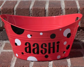 Personalized Basket, Party Favor, Gift Basket, Candy Bin, Dog Toy Basket, Easter Basket - Multiple Colors