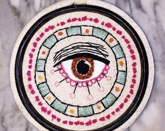 Brown Eyed Beauty -- Original Eyeball Illustration Hand Embroidery Loop