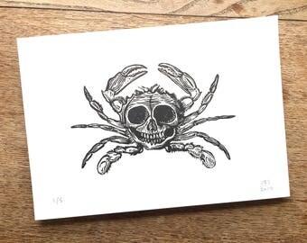 Skull / Crab - Linocut print