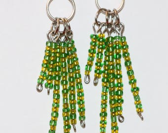 Handmade earrings, beaded earrings, dangle earrings, green and yellow drop earrings