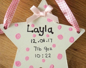 wooden hanging star in pink or blue - new baby gift