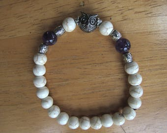 Mantra Bracelet with Antique Owl Charm and Amethyst Beads