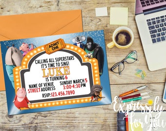 Sing movie birthday invitation, Sing Birthday Invitation, Marquee Birthday Invitation