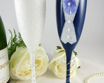 Hand painted wedding champagne flutes (blue jacket)