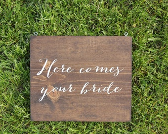 Wedding aisle signs >>> Here Comes Your Bride