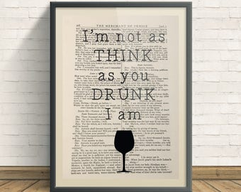 Drunk - A4 Art Print On Old Book Page, Home, Funny, Alcohol Print
