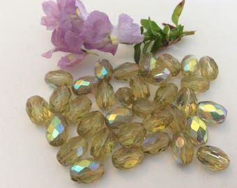 Vintage Czech Oval Glass Faceted Beads Jonquil AB Bargain Pack of 34