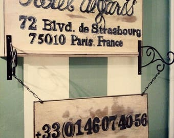 Custom Handmade French Hotel Sign