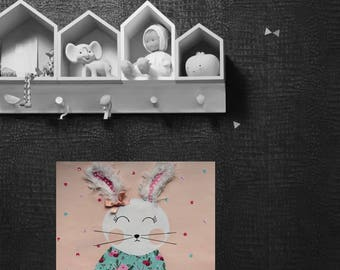 Child/baby room painting, wall decor, rabbit